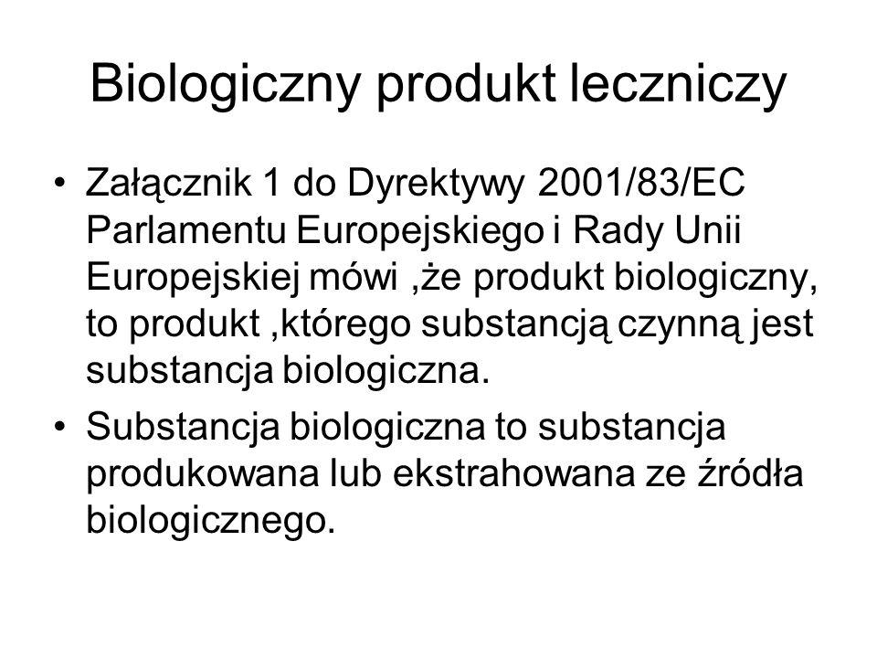 Biologiczny produkt leczniczy Załącznik 1 do Dyrektywy 2001/83/EC Parlamentu Europejskiego i Rady Unii Europejskiej mówi,że produkt biologiczny, to produkt,którego substancją czynną jest substancja biologiczna.