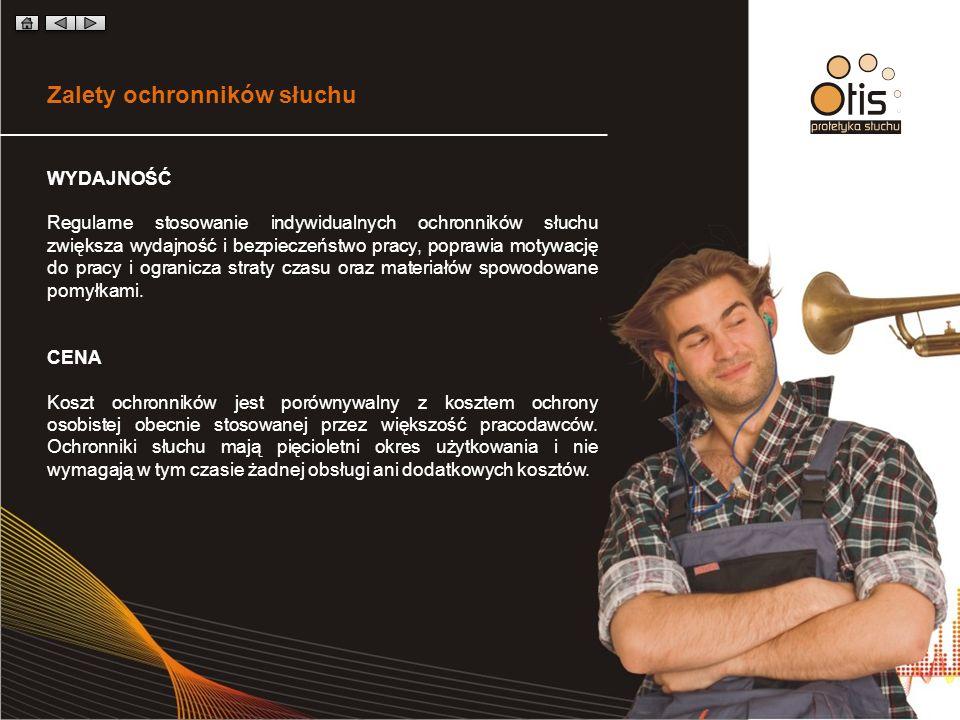 Zalety ochronników słuchu WYDAJNOŚĆ Regularne stosowanie indywidualnych ochronników słuchu zwiększa wydajność i bezpieczeństwo pracy, poprawia motywację do pracy i ogranicza straty czasu oraz materiałów spowodowane pomyłkami.