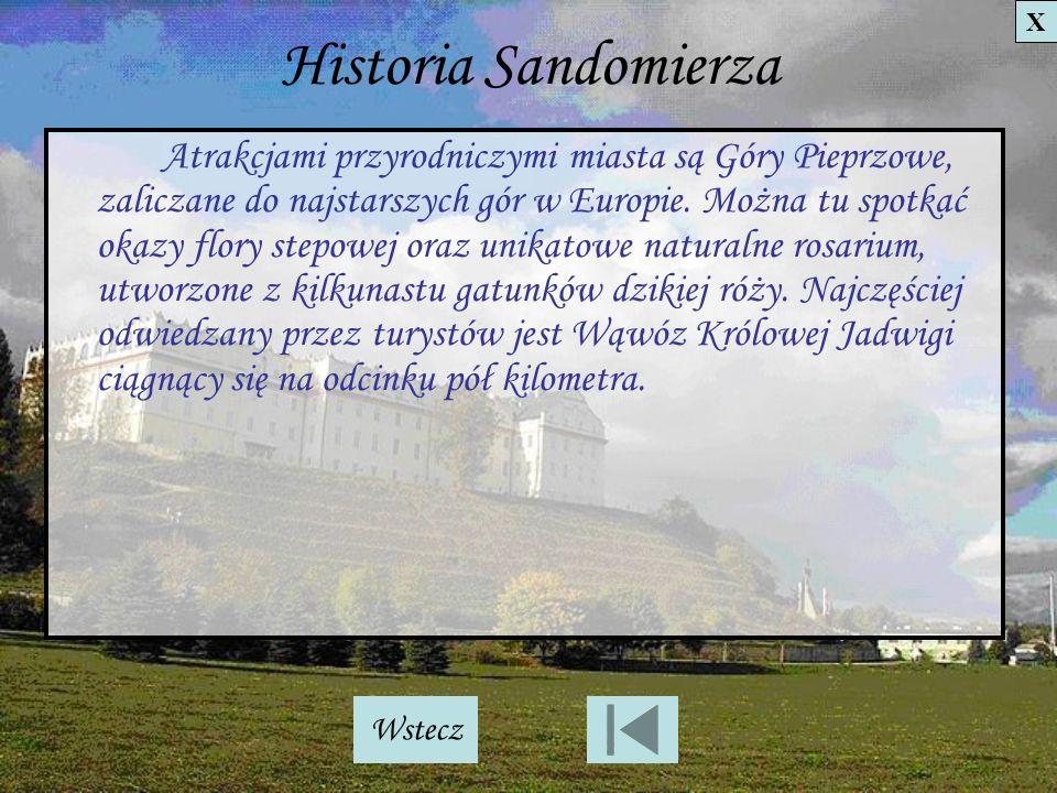 Historia Sandomierza Atrakcjami przyrodniczymi miasta są Góry Pieprzowe, zaliczane do najstarszych gór w Europie. Można tu spotkać okazy flory stepowe