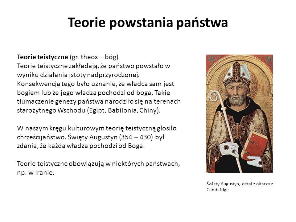 Teorie powstania państwa Teorie teistyczne (gr. theos – bóg) Teorie teistyczne zakładają, że państwo powstało w wyniku działania istoty nadprzyrodzone