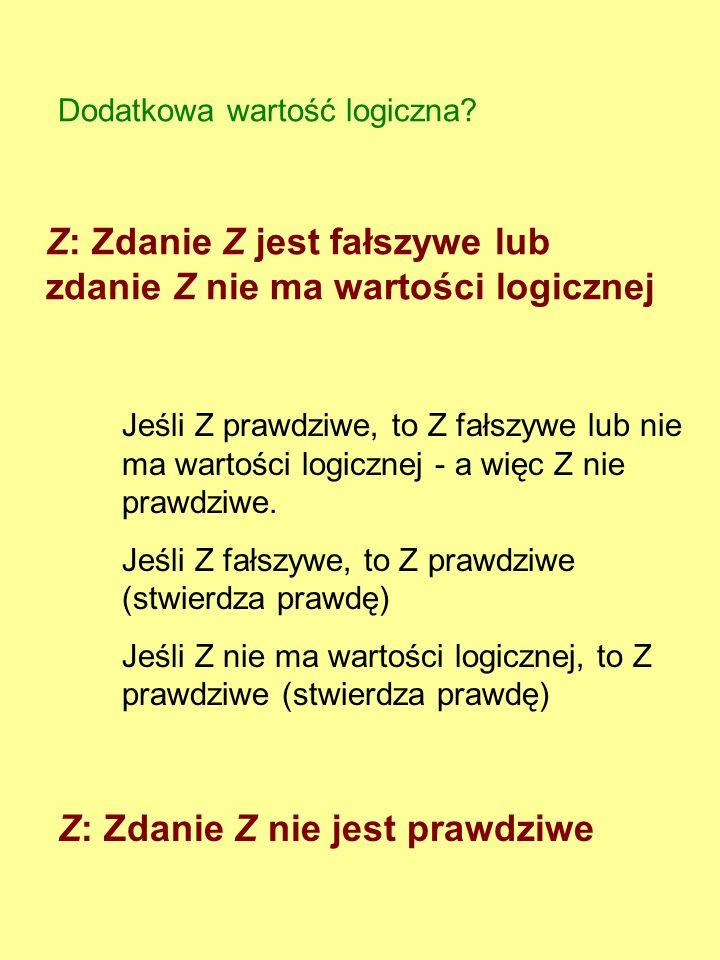 Epimenides (VI w.p.n.e.) Wszyscy Kreteńczycy są kłamcami Eubulides (IV w. p.n.e.) To, co teraz mówię, jest kłamstwem (Paradoks kłamcy) czyli Z: Zdanie