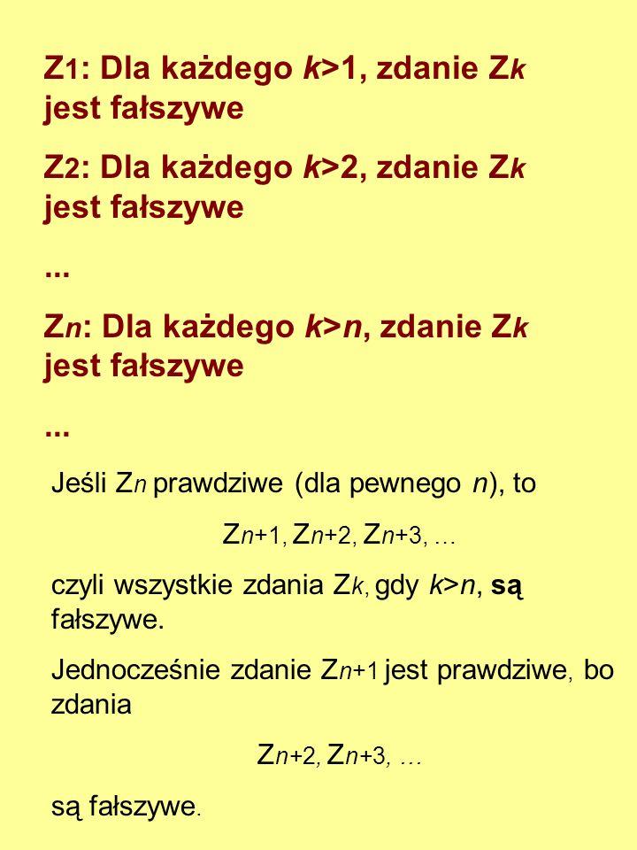 Z 1 : Zdanie Z 2 jest fałszywe Z 2 : Zdanie Z 1 jest prawdziwe Z 1 : Zdanie Z 2 jest fałszywe Z 2 : Zdanie Z 3 jest fałszywe Z 3 : Zdanie Z 1 jest fał
