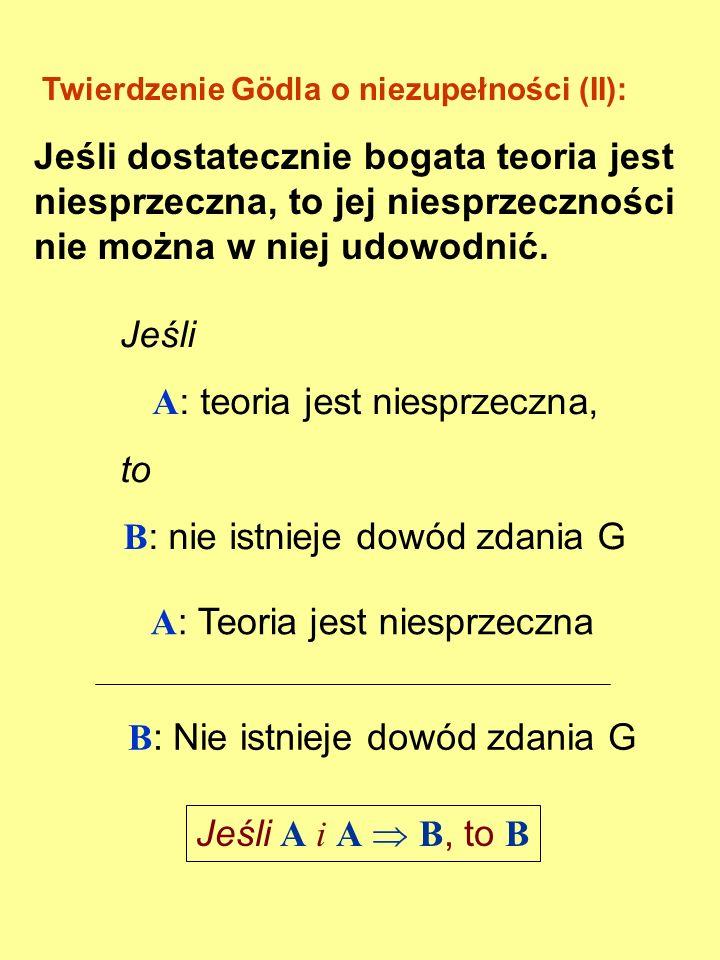 Twierdzenie Gödla o niezupełności (I): Dla każdej dostatecznie bogatej teorii niesprzecznej istnieje zdanie G takie, że ani G, ani ¬G nie są jej twier