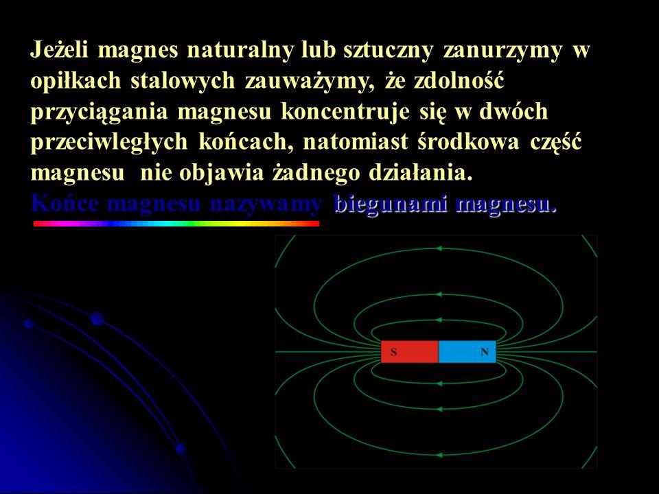 biegunami magnesu. Jeżeli magnes naturalny lub sztuczny zanurzymy w opiłkach stalowych zauważymy, że zdolność przyciągania magnesu koncentruje się w d