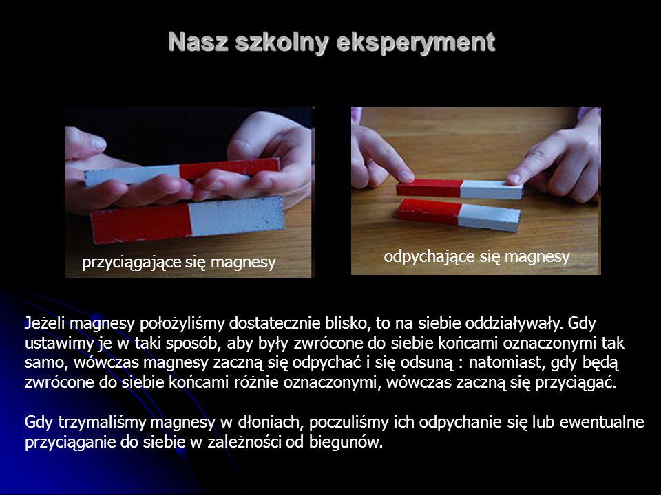 Nasz szkolny eksperyment Jeżeli magnesy położyliśmy dostatecznie blisko, to na siebie oddziaływały. Gdy ustawimy je w taki sposób, aby były zwrócone d