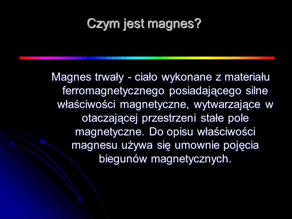 Czym jest magnes? Magnes trwały - ciało wykonane z materiału ferromagnetycznego posiadającego silne właściwości magnetyczne, wytwarzające w otaczające