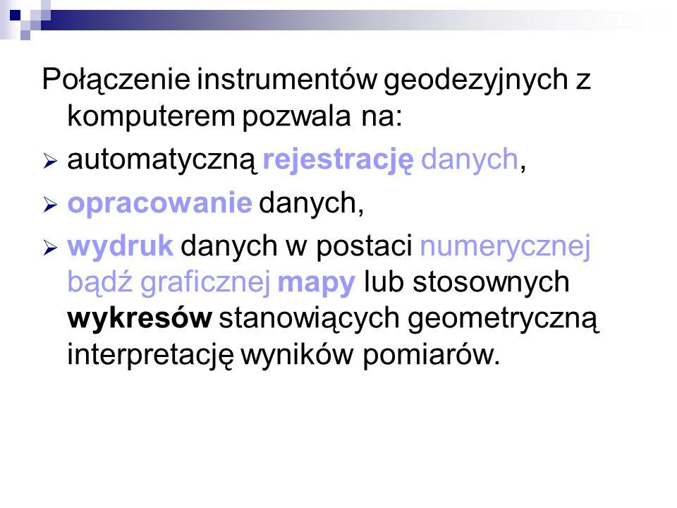 Połączenie instrumentów geodezyjnych z komputerem pozwala na: automatyczną rejestrację danych, opracowanie danych, wydruk danych w postaci numerycznej