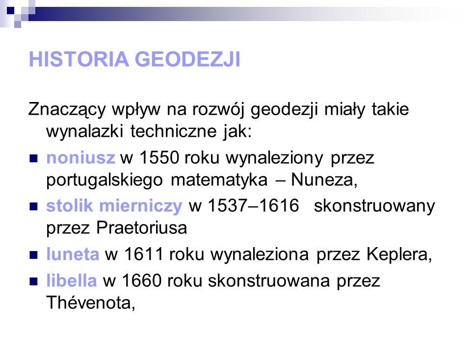 HISTORIA GEODEZJI Znaczący wpływ na rozwój geodezji miały takie wynalazki techniczne jak: noniusz w 1550 roku wynaleziony przez portugalskiego matemat