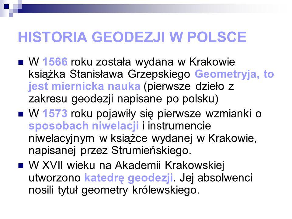 HISTORIA GEODEZJI W POLSCE W 1566 roku została wydana w Krakowie książka Stanisława Grzepskiego Geometryja, to jest miernicka nauka (pierwsze dzieło z