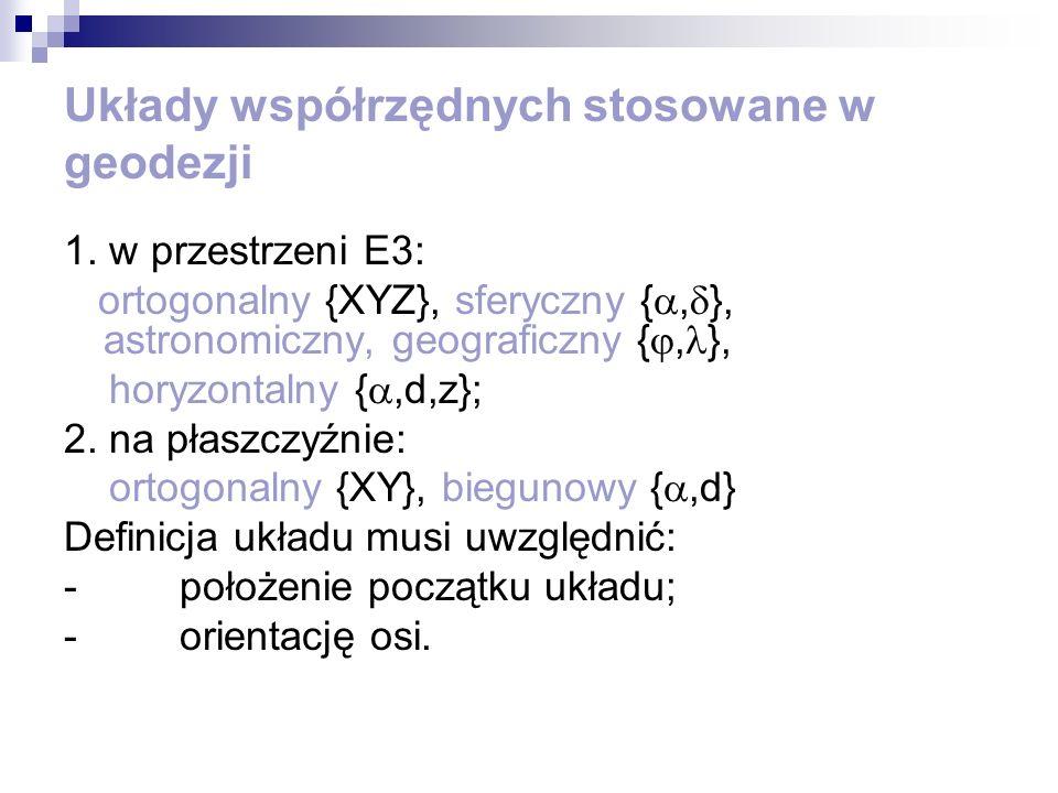 Układy współrzędnych stosowane w geodezji 1. w przestrzeni E3: ortogonalny {XYZ}, sferyczny {, }, astronomiczny, geograficzny {, }, horyzontalny {,d,z