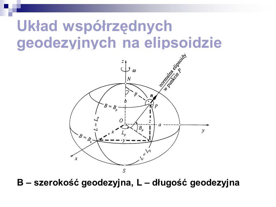 Układ współrzędnych geodezyjnych na elipsoidzie B – szerokość geodezyjna, L – długość geodezyjna