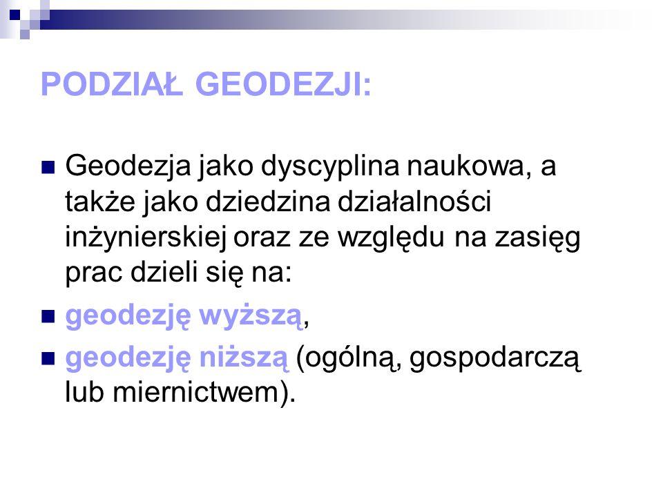 Geodezja jako dyscyplina naukowa, a także jako dziedzina działalności inżynierskiej oraz ze względu na zasięg prac dzieli się na: geodezję wyższą, geo