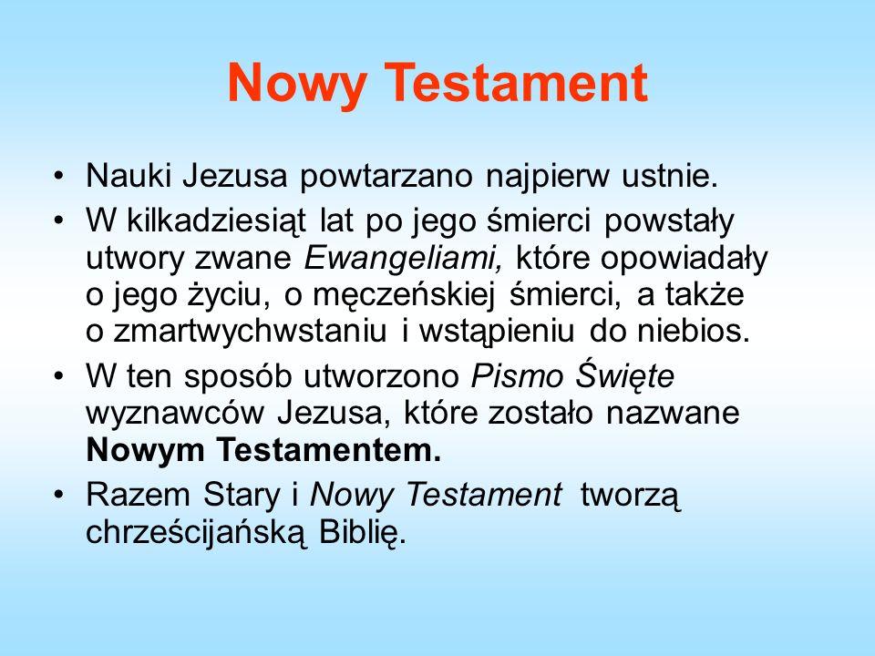 Nowy Testament Nauki Jezusa powtarzano najpierw ustnie.