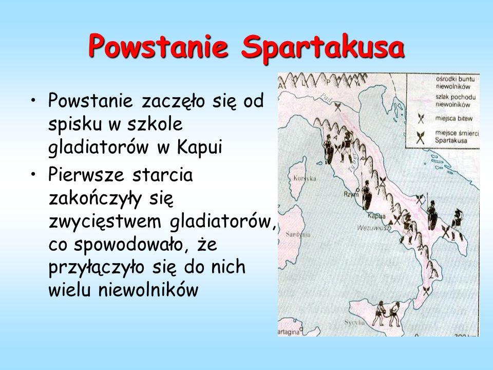 Powstanie Spartakusa Powstanie zaczęło się od spisku w szkole gladiatorów w Kapui Pierwsze starcia zakończyły się zwycięstwem gladiatorów, co spowodowało, że przyłączyło się do nich wielu niewolników