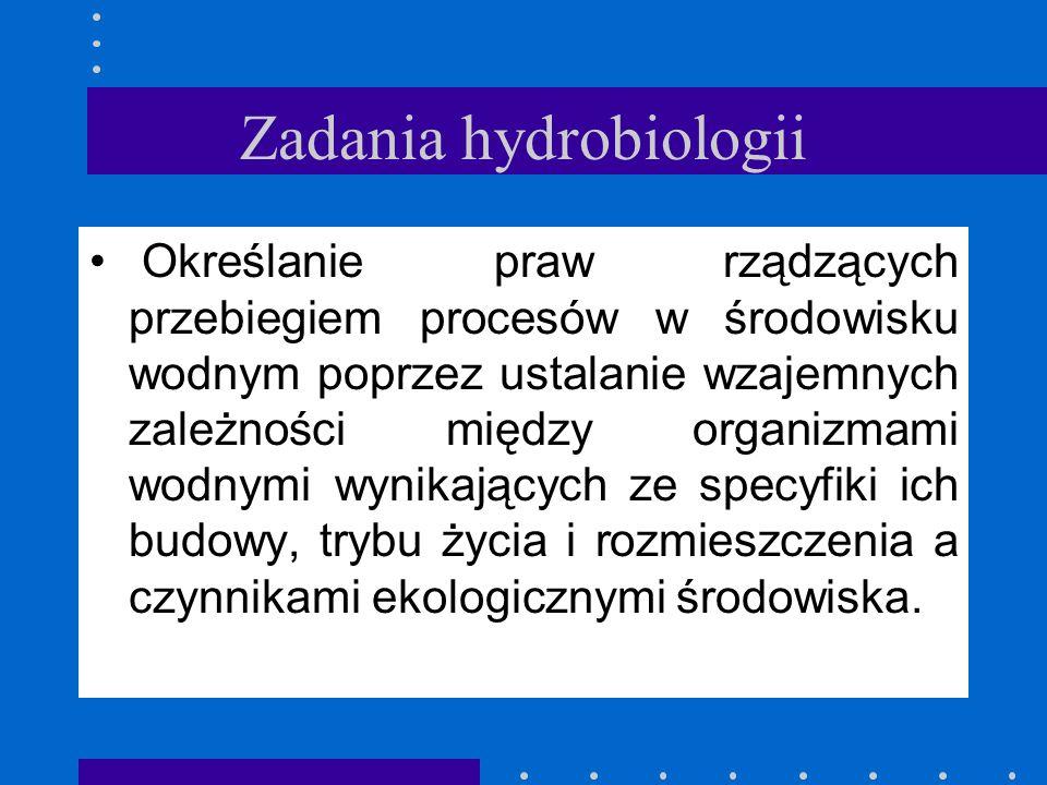 Przedmiot hydrobiologii Hydrobiologia nauka o życiu w wodzie. (od greckich słów: hydro - woda, bios - życie i logos - nauka. Zajmuje się organizmami ż