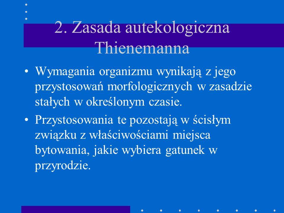 1. Zasada autekologiczna Thienemana Żywe organizmy związane są z otoczeniem poprzez swe potrzeby życiowe. Stanowi ona przesłankę metodologiczną. Podst