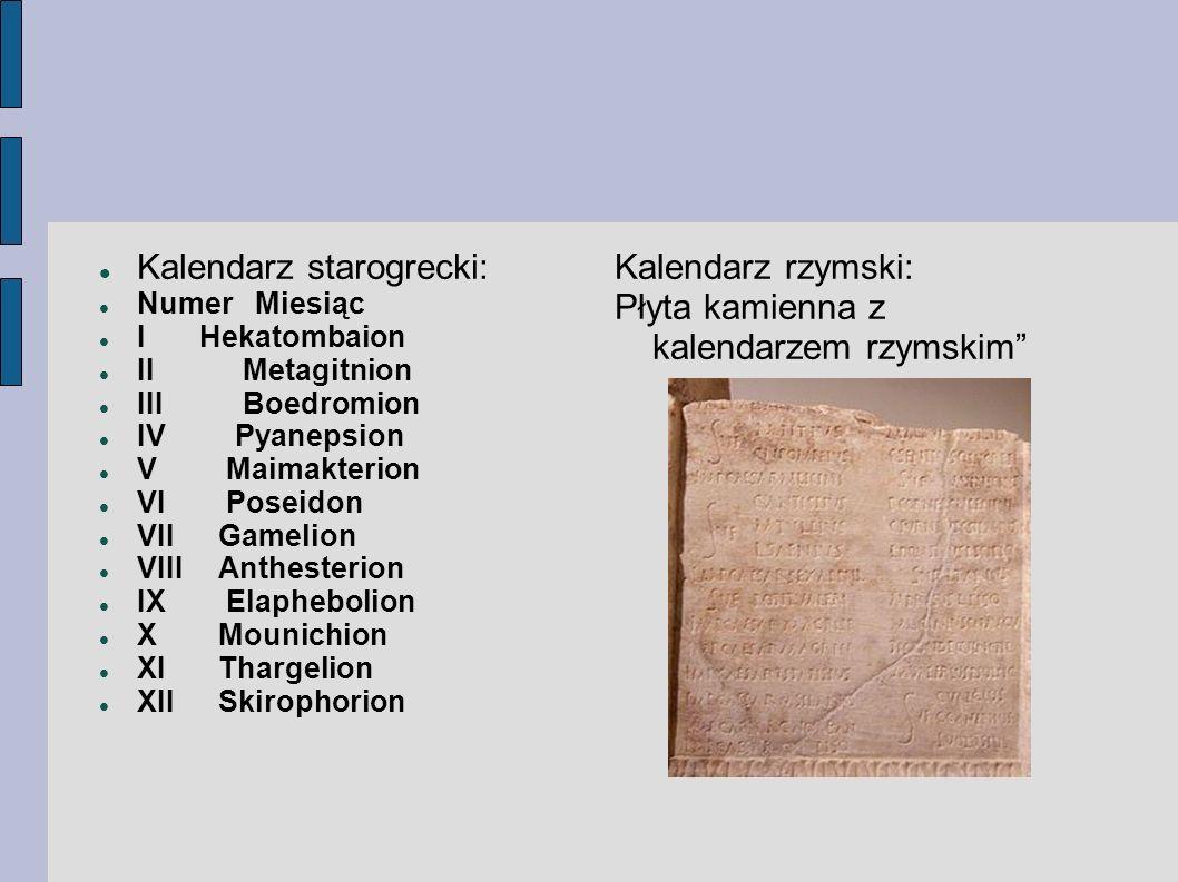 Kalendarz starogrecki: Numer Miesiąc I Hekatombaion II Metagitnion III Boedromion IV Pyanepsion V Maimakterion VI Poseidon VII Gamelion VIII Anthester