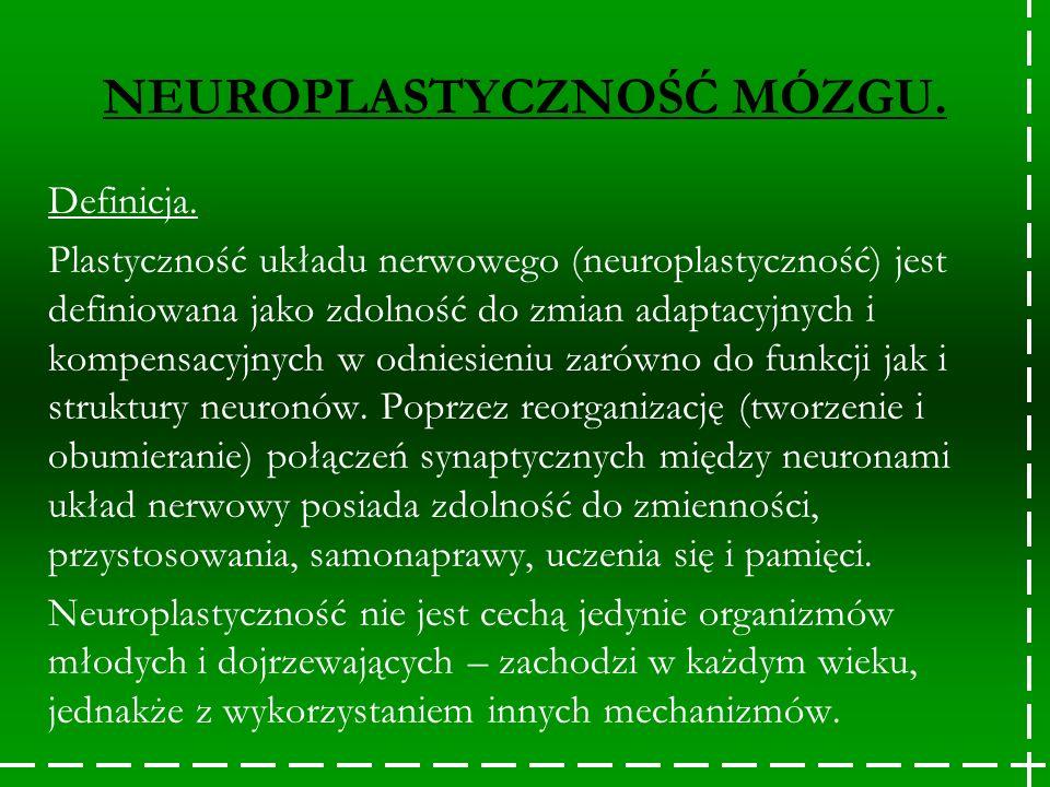 Definicja. Plastyczność układu nerwowego (neuroplastyczność) jest definiowana jako zdolność do zmian adaptacyjnych i kompensacyjnych w odniesieniu zar