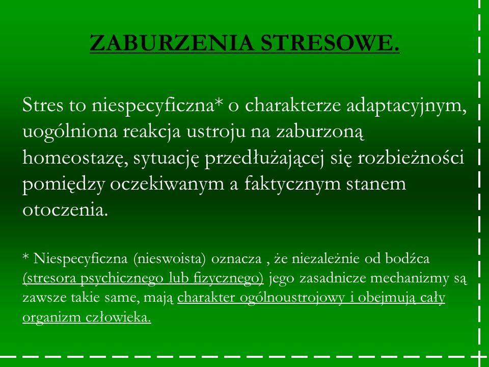 Stres to niespecyficzna* o charakterze adaptacyjnym, uogólniona reakcja ustroju na zaburzoną homeostazę, sytuację przedłużającej się rozbieżności pomi