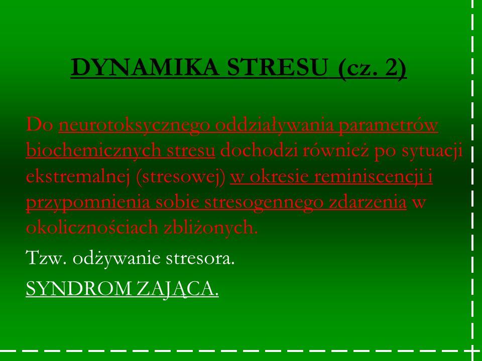 Do neurotoksycznego oddziaływania parametrów biochemicznych stresu dochodzi również po sytuacji ekstremalnej (stresowej) w okresie reminiscencji i prz