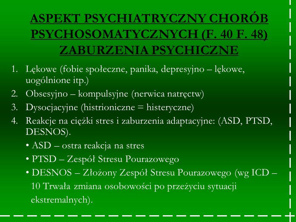 ASPEKT PSYCHIATRYCZNY CHORÓB PSYCHOSOMATYCZNYCH (F. 40 F. 48) ZABURZENIA PSYCHICZNE 1.Lękowe (fobie społeczne, panika, depresyjno – lękowe, uogólnione