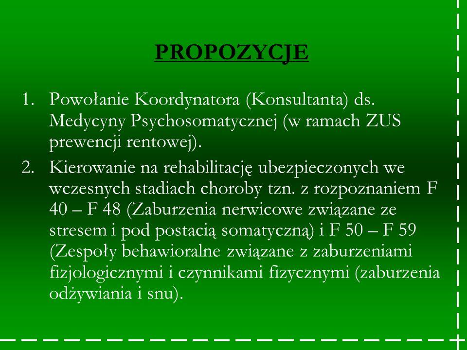 PROPOZYCJE 1.Powołanie Koordynatora (Konsultanta) ds. Medycyny Psychosomatycznej (w ramach ZUS prewencji rentowej). 2.Kierowanie na rehabilitację ubez