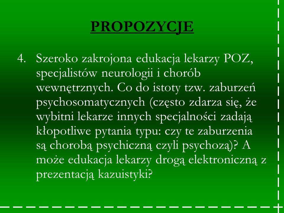 PROPOZYCJE 4.Szeroko zakrojona edukacja lekarzy POZ, specjalistów neurologii i chorób wewnętrznych. Co do istoty tzw. zaburzeń psychosomatycznych (czę