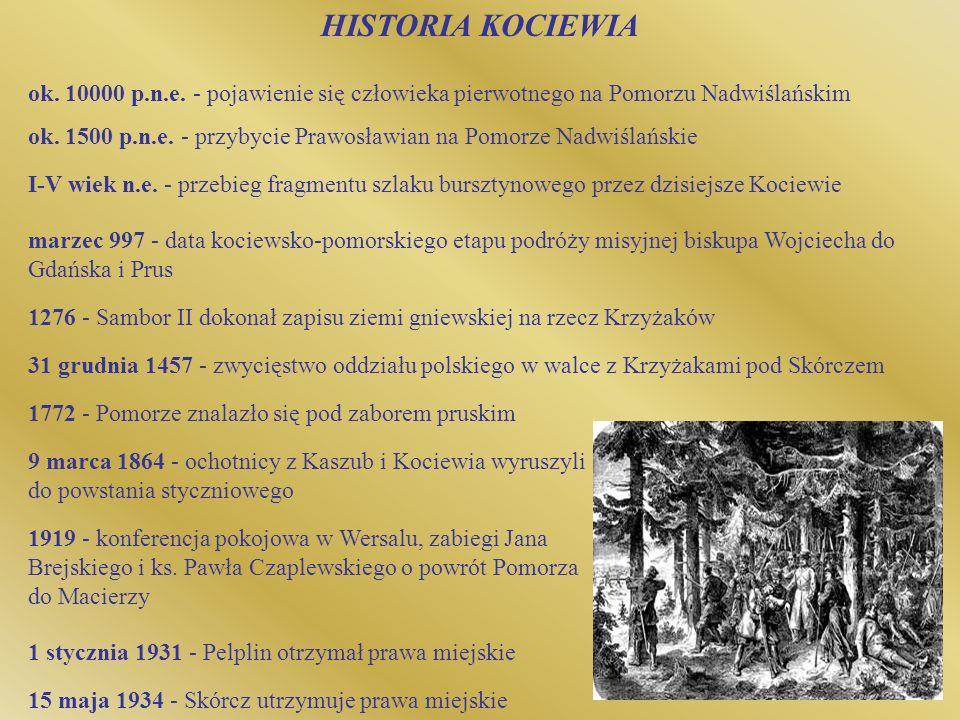 HISTORIA KOCIEWIA ok. 10000 p.n.e. - pojawienie się człowieka pierwotnego na Pomorzu Nadwiślańskim ok. 1500 p.n.e. - przybycie Prawosławian na Pomorze