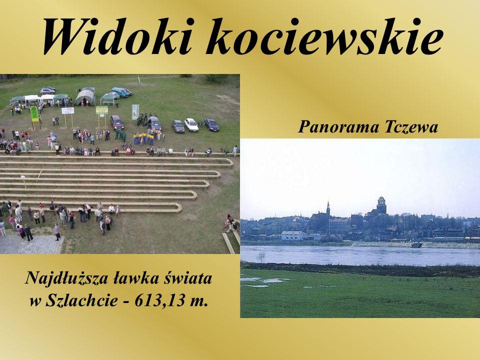 Najdłuższa ławka świata w Szlachcie - 613,13 m. Panorama Tczewa Widoki kociewskie