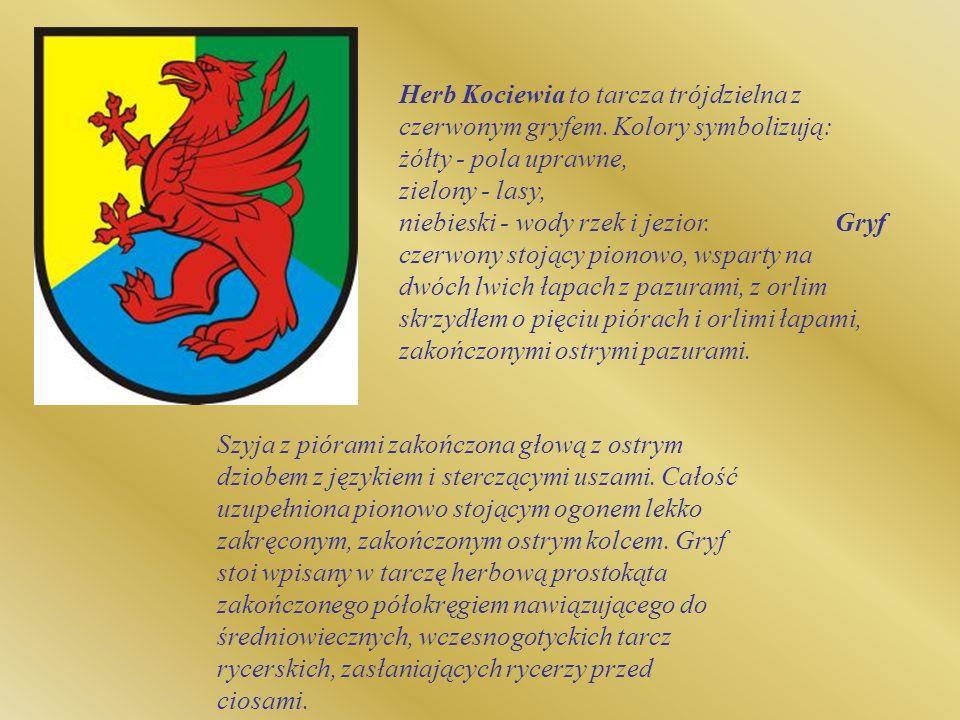 Herb Kociewia to tarcza trójdzielna z czerwonym gryfem. Kolory symbolizują: żółty - pola uprawne, zielony - lasy, niebieski - wody rzek i jezior. Gryf