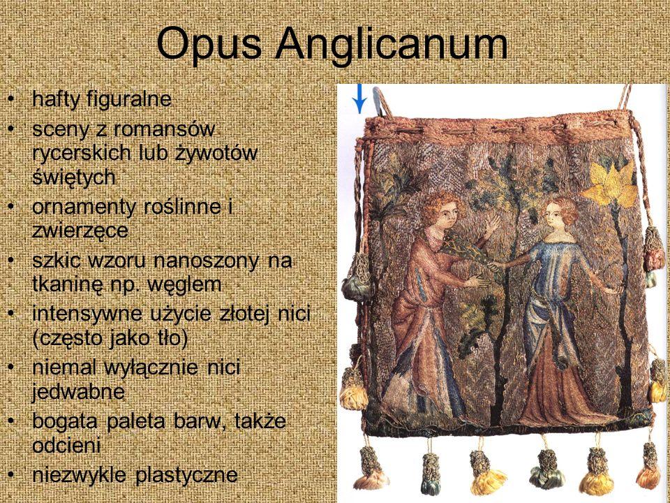 Opus Anglicanum hafty figuralne sceny z romansów rycerskich lub żywotów świętych ornamenty roślinne i zwierzęce szkic wzoru nanoszony na tkaninę np.