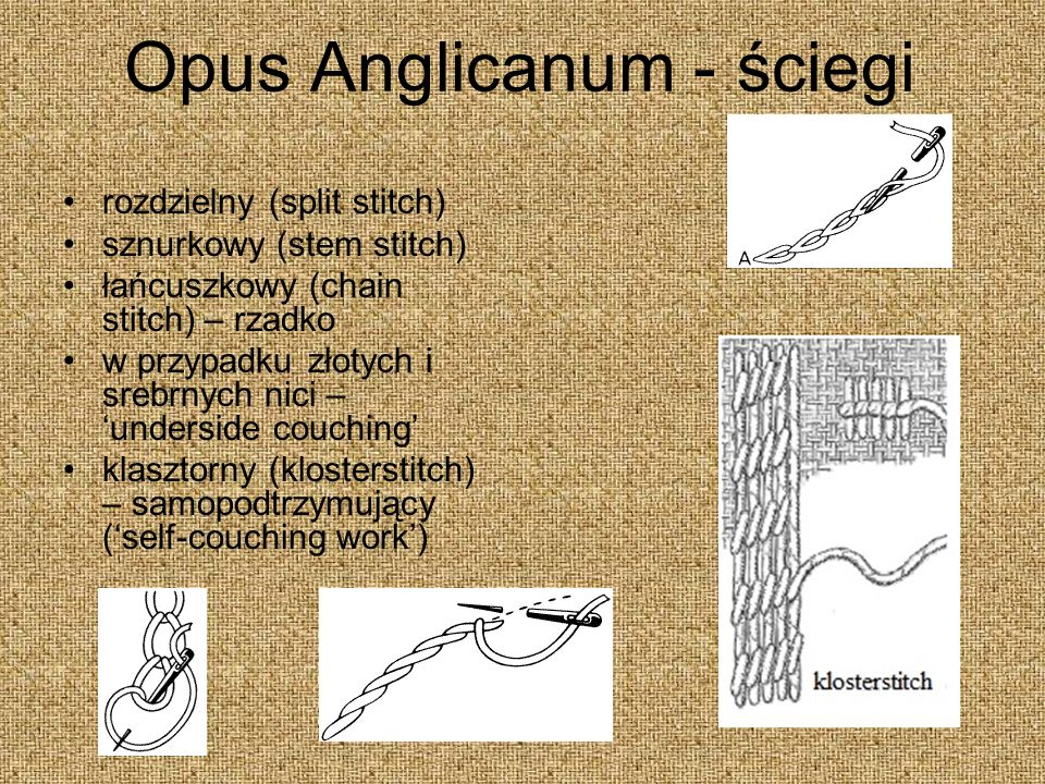 Opus Anglicanum - ściegi rozdzielny (split stitch) sznurkowy (stem stitch) łańcuszkowy (chain stitch) – rzadko w przypadku złotych i srebrnych nici – underside couching klasztorny (klosterstitch) – samopodtrzymujący (self-couching work)