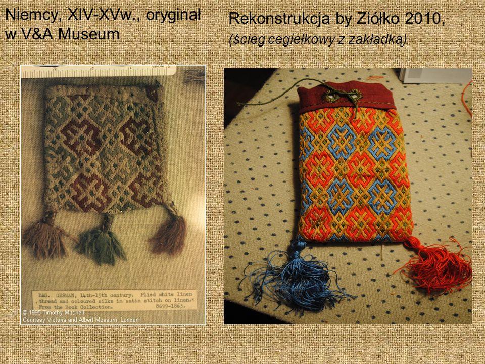 Niemcy, XIV-XVw., oryginał w V&A Museum Rekonstrukcja by Ziółko 2010, (ścieg cegiełkowy z zakładką)
