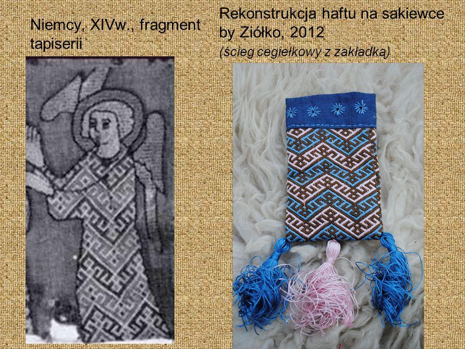 Niemcy, XIVw., fragment tapiserii Rekonstrukcja haftu na sakiewce by Ziółko, 2012 (ścieg cegiełkowy z zakładką)
