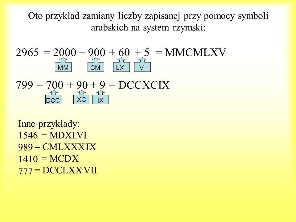 Oto przykład zamiany liczby zapisanej przy pomocy symboli arabskich na system rzymski: 2965 MMCMLXV 799 XC DCCIX Inne przykłady: 1546 989 1410 777 = 2