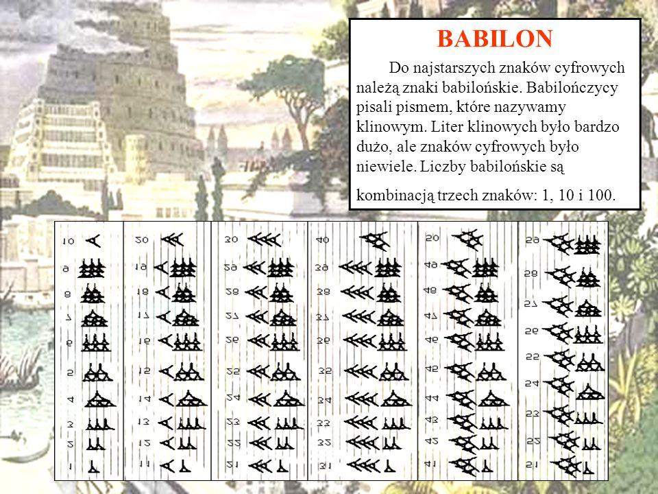 BABILON Do najstarszych znaków cyfrowych należą znaki babilońskie. Babilończycy pisali pismem, które nazywamy klinowym. Liter klinowych było bardzo du