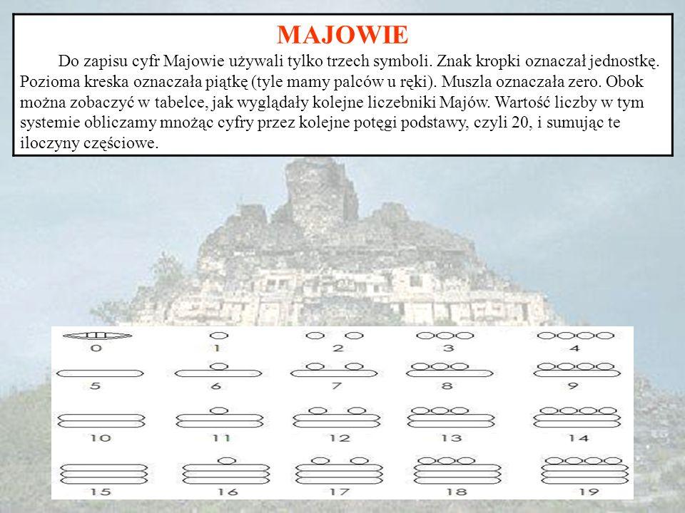 MAJOWIE Do zapisu cyfr Majowie używali tylko trzech symboli. Znak kropki oznaczał jednostkę. Pozioma kreska oznaczała piątkę (tyle mamy palców u ręki)
