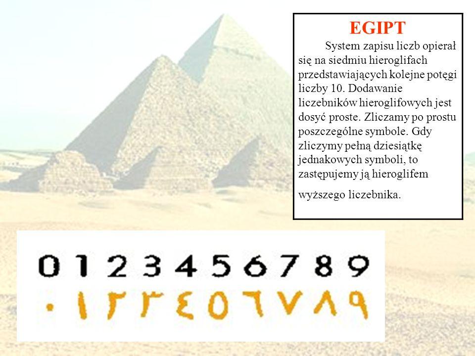 EGIPT System zapisu liczb opierał się na siedmiu hieroglifach przedstawiających kolejne potęgi liczby 10. Dodawanie liczebników hieroglifowych jest do