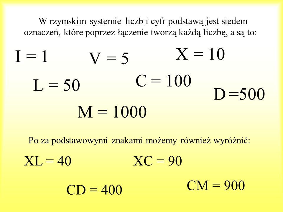W rzymskim systemie liczb i cyfr podstawą jest siedem oznaczeń, które poprzez łączenie tworzą każdą liczbę, a są to: I V X L C D M = 1 = 5 = 10 = 50 =