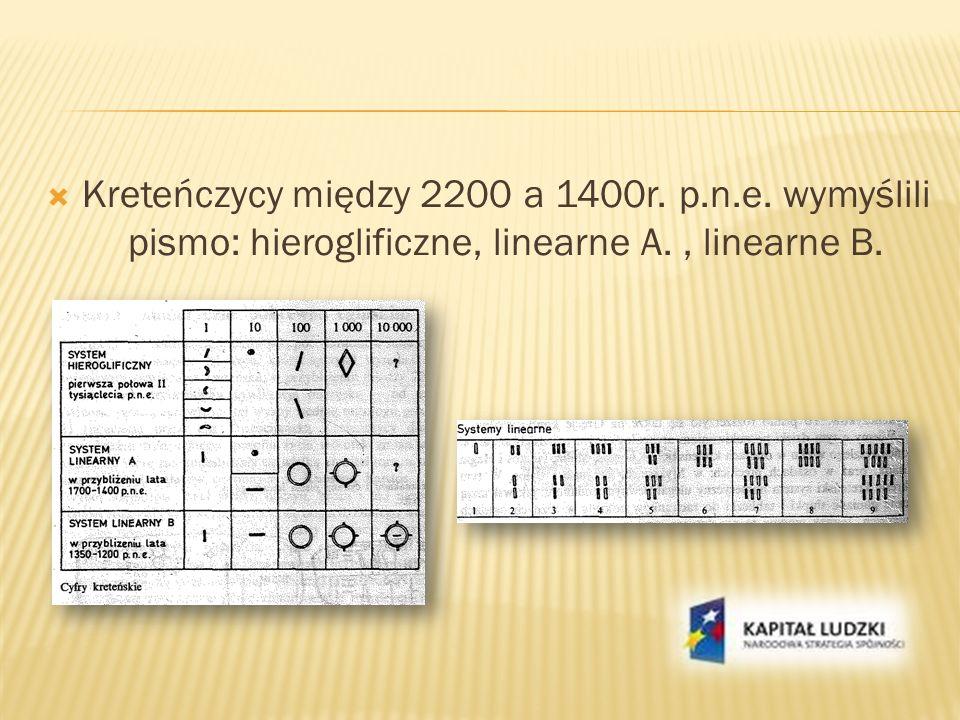 Kreteńczycy między 2200 a 1400r. p.n.e. wymyślili pismo: hieroglificzne, linearne A., linearne B.