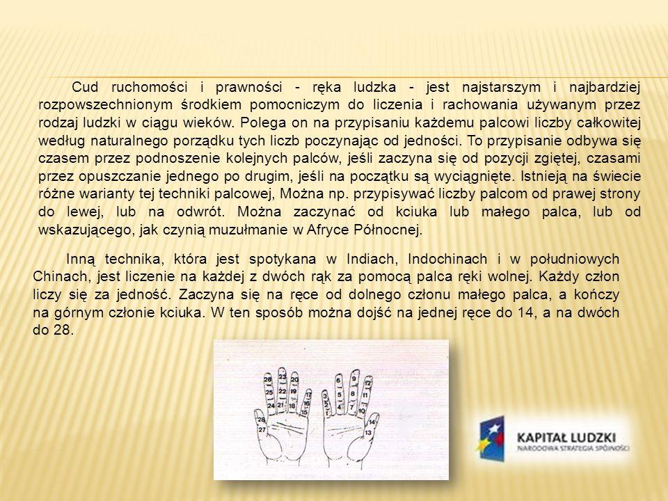 Cud ruchomości i prawności - ręka ludzka - jest najstarszym i najbardziej rozpowszechnionym środkiem pomocniczym do liczenia i rachowania używanym prz