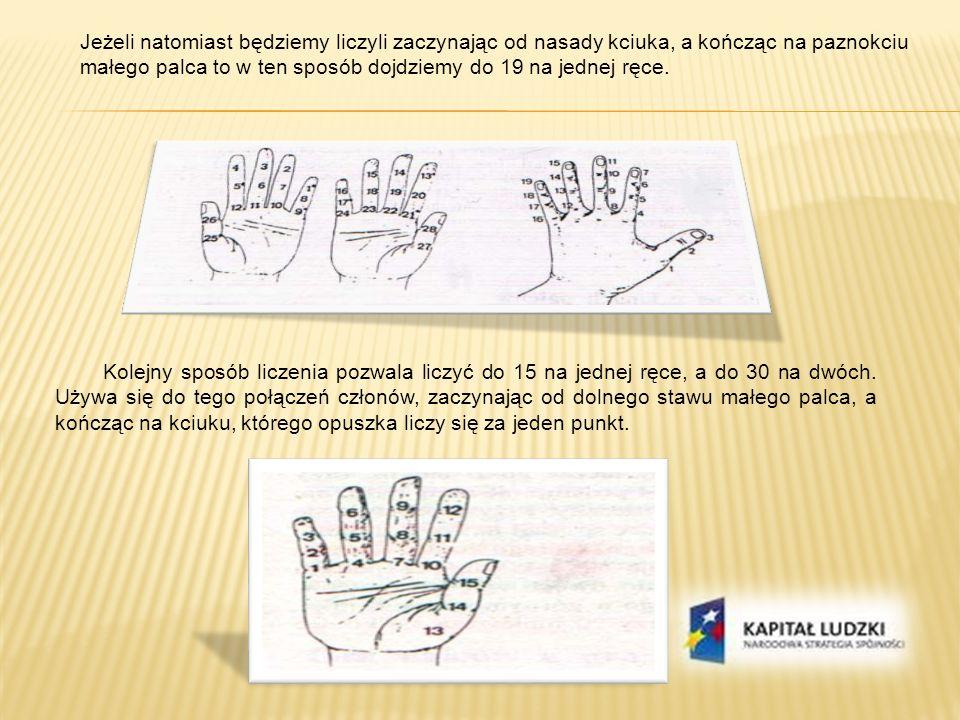 Następny sposób jest ulepszoną metodą liczenia na palcach i pozwala na wyrażenie gestami jednej lub obu rąk liczby od 1 do 9999.