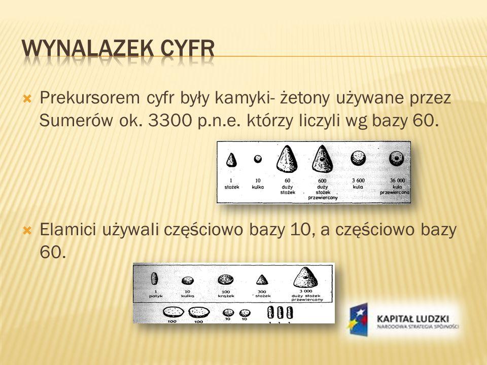 Prekursorem cyfr były kamyki- żetony używane przez Sumerów ok. 3300 p.n.e. którzy liczyli wg bazy 60. Elamici używali częściowo bazy 10, a częściowo b