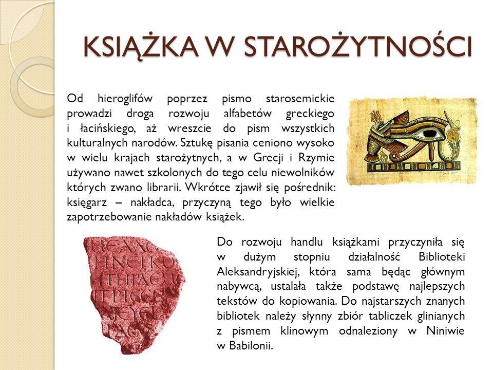 KSIĄŻKA W STAROŻYTNOŚCI Od hieroglifów poprzez pismo starosemickie prowadzi droga rozwoju alfabetów greckiego i łacińskiego, aż wreszcie do pism wszys