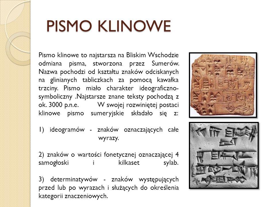 PISMO KLINOWE Pismo klinowe to najstarsza na Bliskim Wschodzie odmiana pisma, stworzona przez Sumerów. Nazwa pochodzi od kształtu znaków odciskanych n