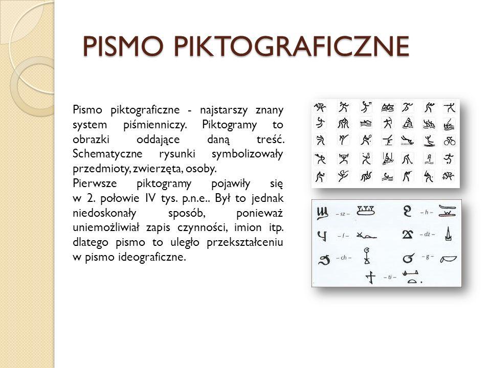 PISMO PIKTOGRAFICZNE Pismo piktograficzne - najstarszy znany system piśmienniczy. Piktogramy to obrazki oddające daną treść. Schematyczne rysunki symb