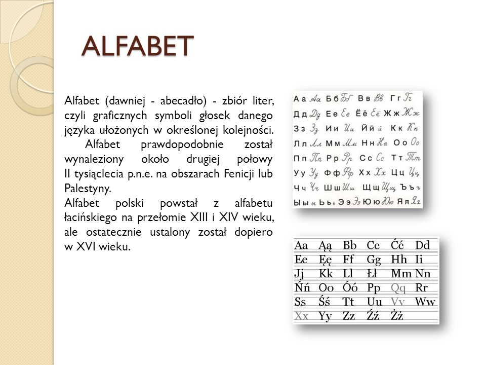 ALFABET Alfabet (dawniej - abecadło) - zbiór liter, czyli graficznych symboli głosek danego języka ułożonych w określonej kolejności. Alfabet prawdopo