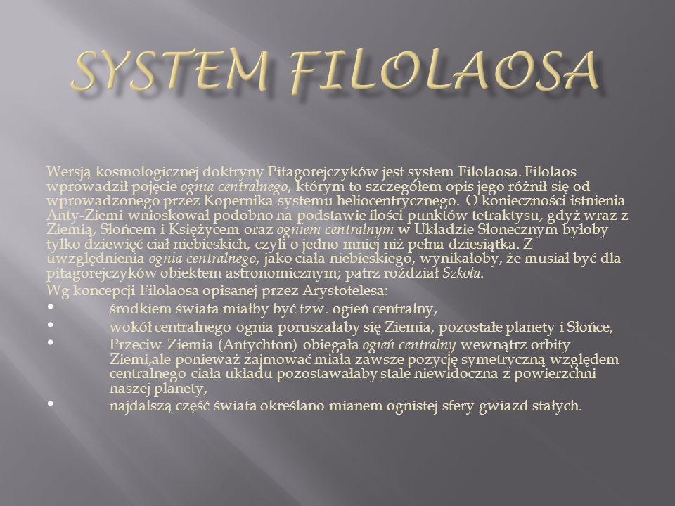 Wersją kosmologicznej doktryny Pitagorejczyków jest system Filolaosa. Filolaos wprowadził pojęcie ognia centralnego, którym to szczegółem opis jego ró