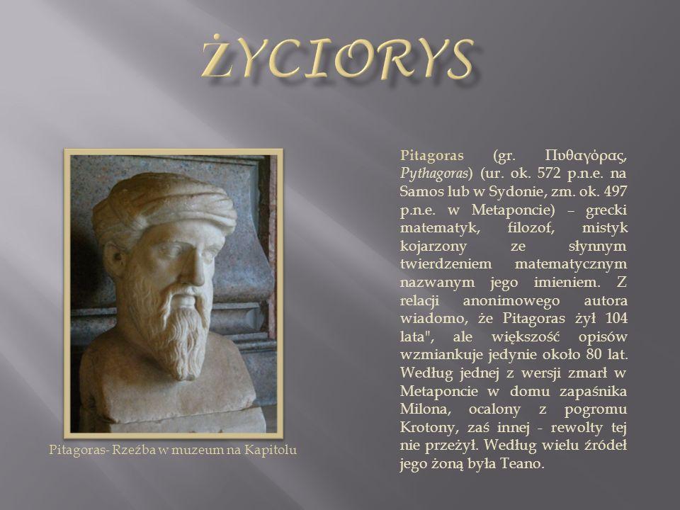 Pitagoras (gr. Πυθαγόρας, Pythagoras ) (ur. ok. 572 p.n.e. na Samos lub w Sydonie, zm. ok. 497 p.n.e. w Metaponcie) – grecki matematyk, filozof, misty
