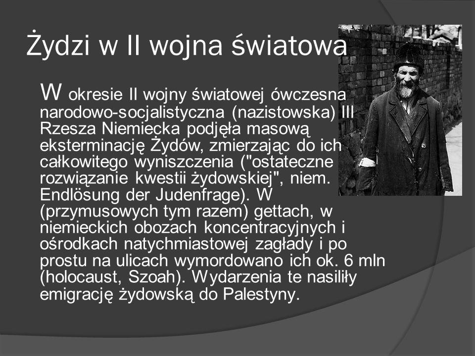 Żydzi w II wojna światowa W okresie II wojny światowej ówczesna narodowo-socjalistyczna (nazistowska) III Rzesza Niemiecka podjęła masową eksterminacj